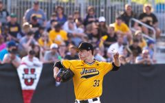 University of Iowa baseball player Jack Dreyer winds up to pitch during a game against Penn State University on Saturday, May 19, 2018. The Hawkeyes defeated the Nittany Lions 8-4.