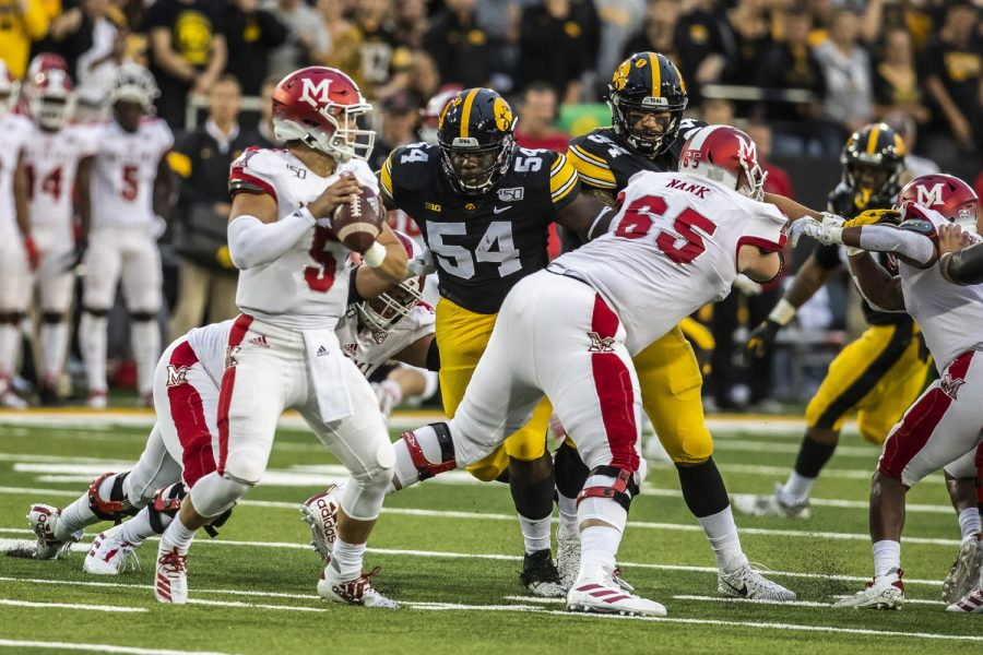 Iowa defensive tackle Daviyon Nixon prepares to tackle during the Iowa football game against Miami (Ohio) at Kinnick Stadium on Saturday, August 31, 2019. The Hawkeyes defeated the Redhawks 38-14.