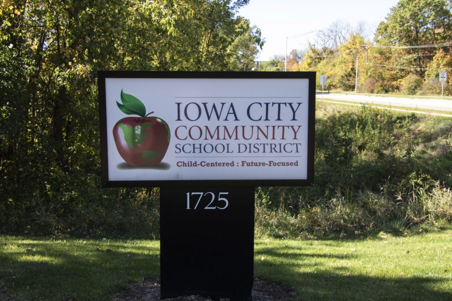 Iowa City Community School District sign. As seen on Thursday, Oct. 15, 2020.