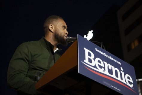 Linn County Supervisor Stacey Walker speaks to a crowd of Bernie Sanders supporters in the Ped Mall on Friday, October 25th, 2019. Sanders spoke on his platform issues such as the legalization of marijuana, the climate crisis, immigration reform, and raising the minimum wage.