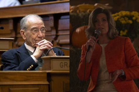 Photos of Sen. Chuck Grassley (Katina Zentz/The Daily Iowan) and Sen. Joni Ernst (Hannah Kinson/The Daily Iowan)