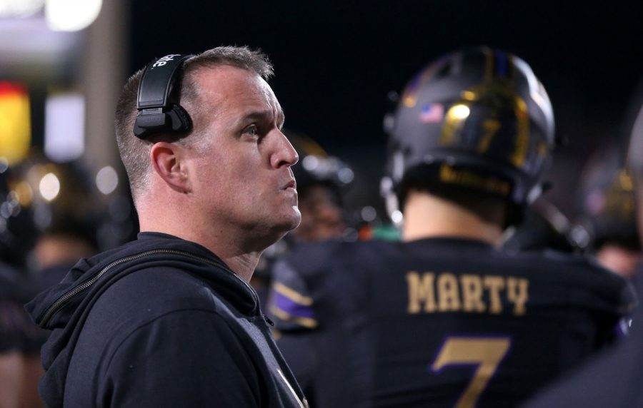 Northwestern coach Pat Fitzgerald looks on from the bench in the fourth quarter of a game against Ohio State at Ryan Field in Evanston on Friday, Oct. 18, 2019. (Chris Sweda/Chicago Tribune)