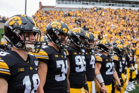 Iowa players line up before a football game between Iowa and Middle Tennessee State University on Saturday, September 28, 2019. The Hawkeyes defeated the Blue Raiders 48-3.