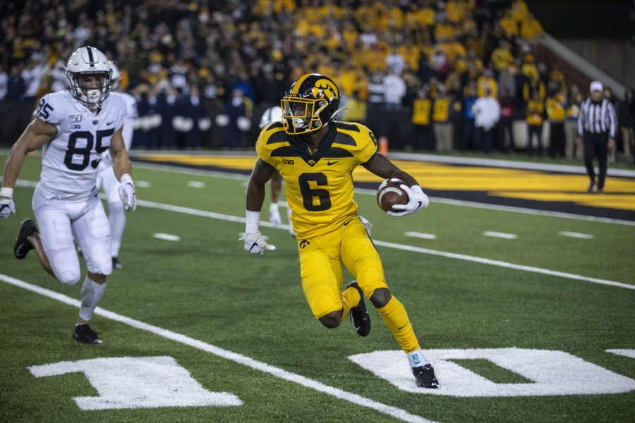 Iowa WR Ihmir Smith-Marsette runs during the Iowa football vs. Penn State game in Kinnick Stadium on Saturday, Oct. 12, 2019. The Nittany Lions defeated the Hawkeyes 17-12.