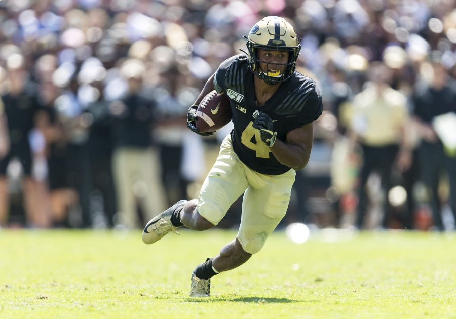Purdue wide receiver Rondale Moore (4) runs with the ball after the catch against the Vanderbilt Commodores on Sept. 7, 2019 at Ross-Ade Stadium in West Lafayette, Ind. (John Mersits/CSM/Zuma Press/TNS)