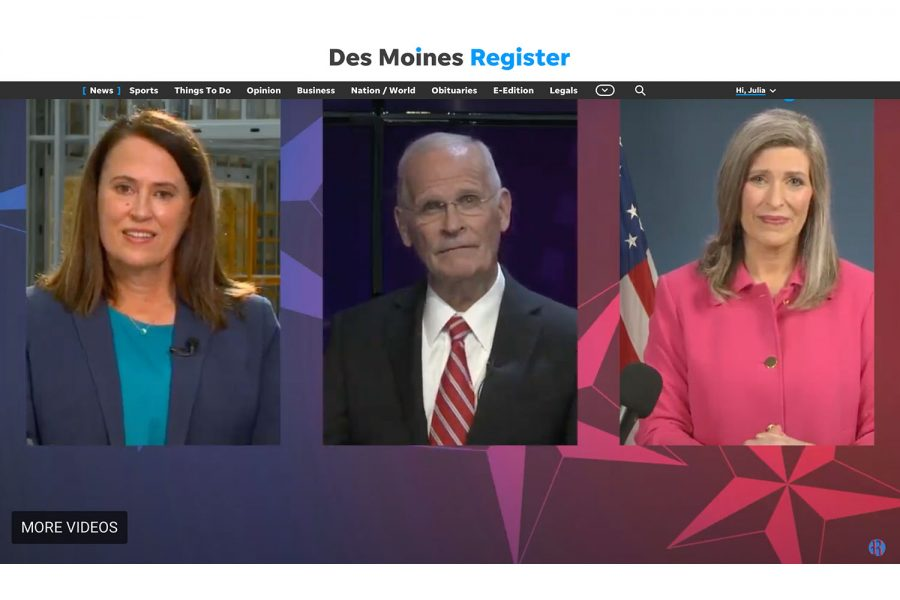 Screenshot from the Des Moines Register's live feed.