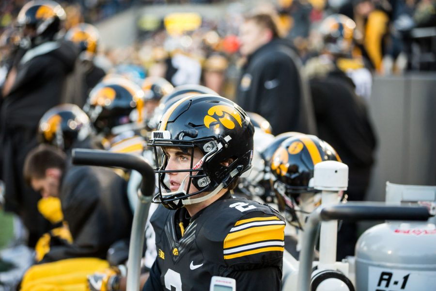 Iowa Punter Ryan Gersonde sits on the bench during a game against Purdue University on Saturday, Nov. 18, 2017. The Boilermakers defeated the Hawkeyes 24 to 15.