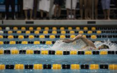 Iowa swimmer Andrew Fierke competes in the 1,000 freestyle during a swim meet at the CRWC on January 11, 2020 between Iowa, Illinois, and Notre Dame. Fierke finished 2nd in his heat with a time of 9:25.79.