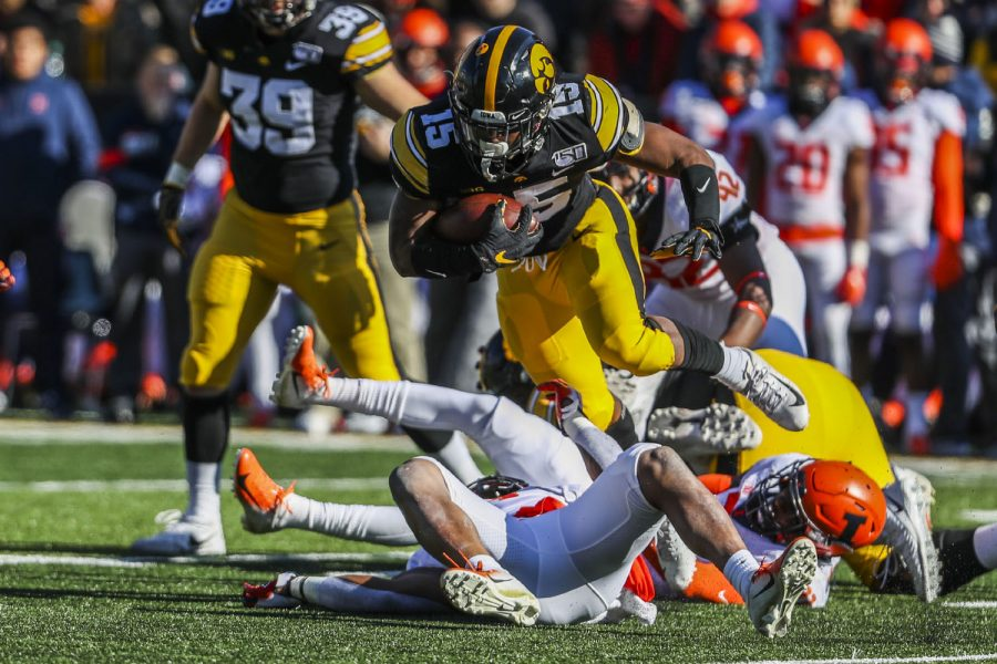 Iowa running back Tyler Goodson carries the ball during the football game against Illinois on Saturday, November 23, 2019. The Hawkeyes defeated the Fighting Illini 19-10.
