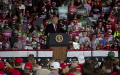 President Donald Trump speaks during a campaign rally on Wednesday, Oct. 14, 2020 at the Des Moines International Airport. Several thousand people attended the rally to support the president in his reelection campaign for the upcoming election.