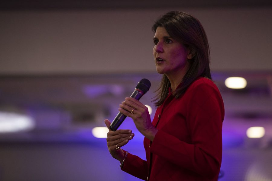 "Nikki Haley, Former U.S. Ambassador to the United Nations, speaks during the Ronald Reagan Dinner hosted by the Johnson County Republicans of Iowa on Wednesday, Oct. 21, 2020 at the Radisson Hotel and Conference Center in Coralville. ""Even on our worse day, we are blessed to live in America,"" Haley said, after talking about her experiences traveling to different countries as an ambassador. ""But we have to fight for [America] and protect her."""