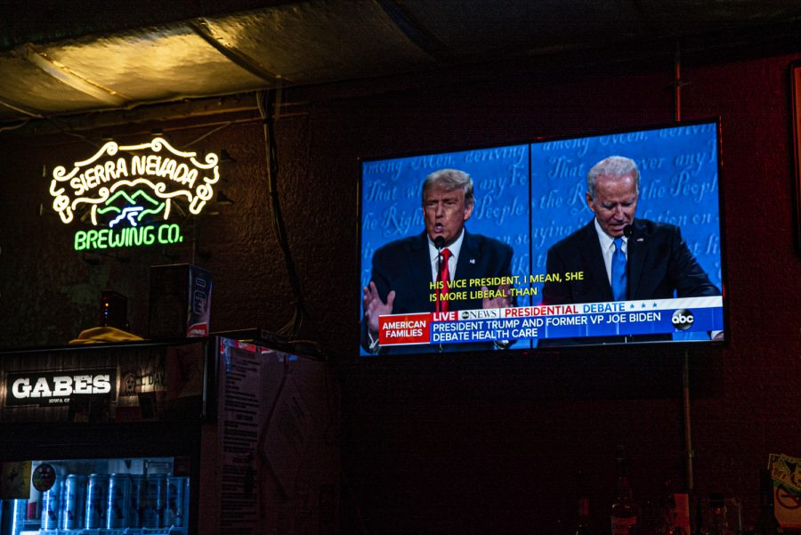 The second 2020 Presidential Debate plays on the television in Gabe's on Thursday, Oct. 22, 2020. The debate is between Democratic candidate Joe Biden and President Donald Trump.