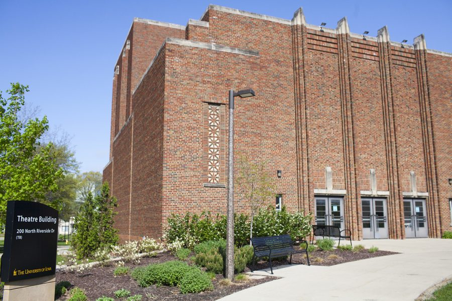 The University of Iowa Theater Building is seen on Monday, May 6, 2019.