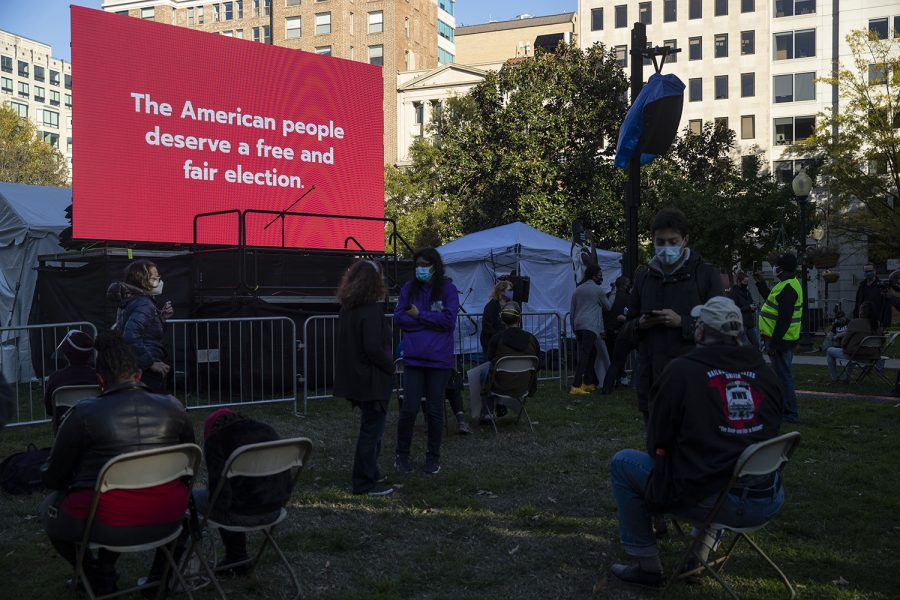 The Count every Vote rally begins to gather in McPherson Square in Washington DC on Wednesday Nov. 4, 2020. The morning after the election, the atmosphere around the city seemed to diffuse.