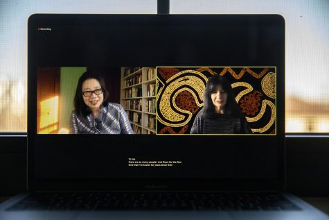 Poet and Member of the Muscogee Creek Nation Joy Harjo speaks during a virtual Chat from the Old Cap event on Wednesday, November 11, 2020. An alumna of the Iowa Writer