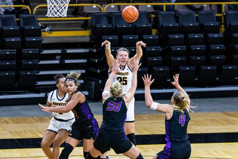 Monika Czinano passes the ball during the Iowa Hawkeyes Women's Basketball season opener again Northern Iowa on Nov. 25, 2020. The Hawkeyes defeated Northern Iowa 96-81.