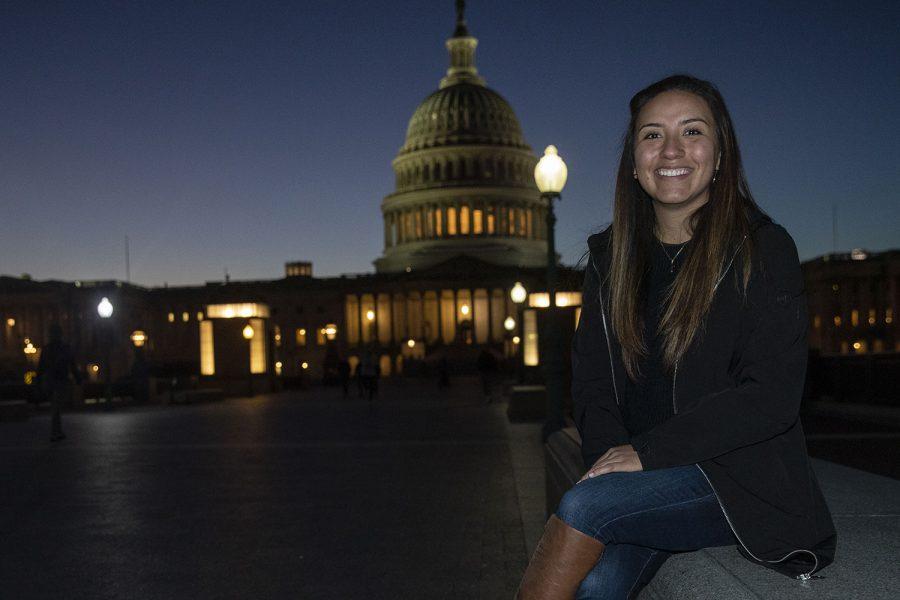Alexia Sanchez poses for a portrait at the Capitol in Washington DC on Monday, Nov. 2, 2020.
