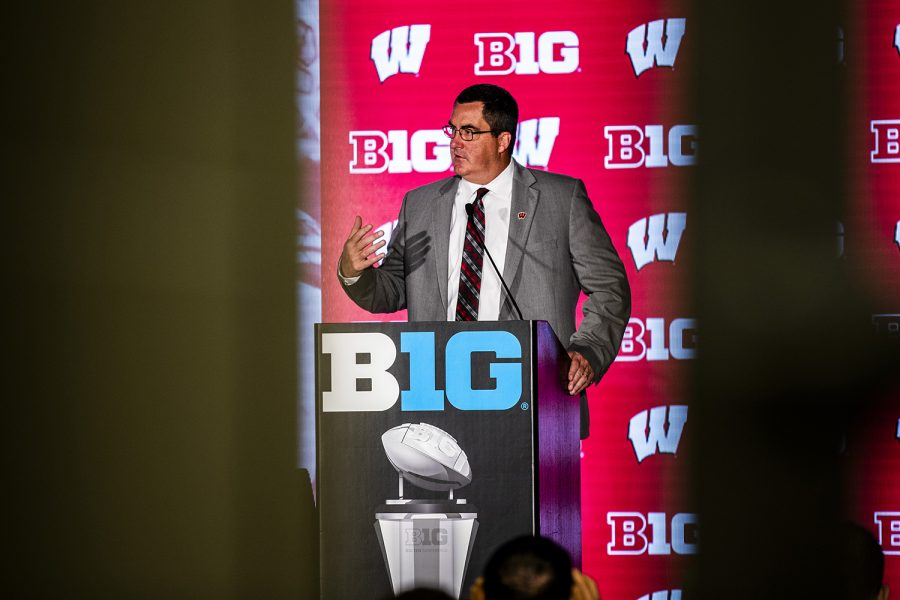 Wisconsin head coach Paul Chryst speaks during the second day of Big Ten Football Media Days in Chicago, Ill., on Friday, July 19, 2019.