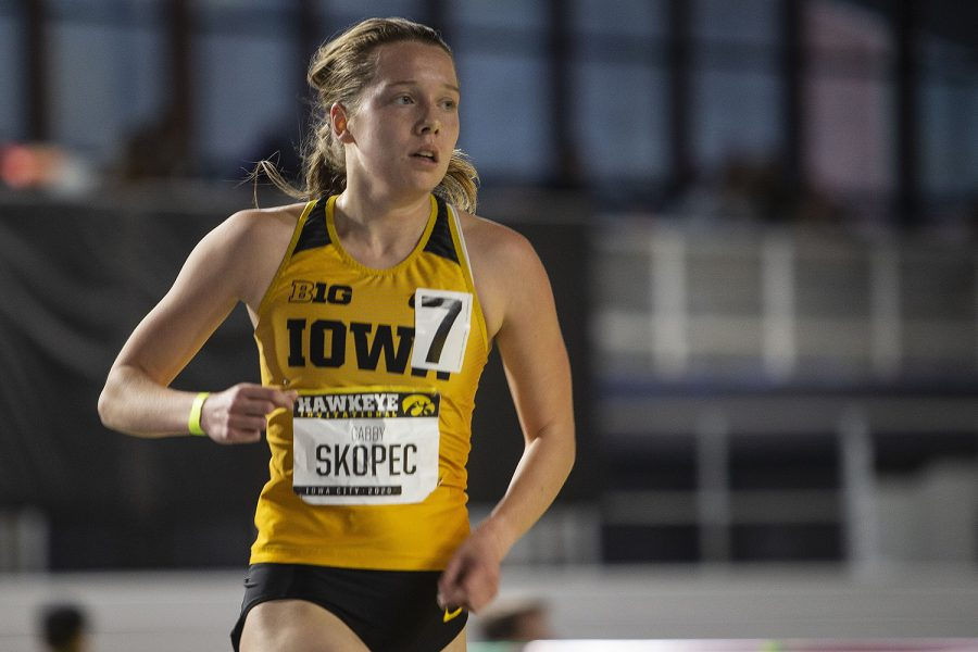 Iowa distance runner Gabby Skopec competes in the women's 3000m run during the Hawkeye Invitational at the University of Iowa Recreation Building on Saturday, Jan 11, 2020. Skopec earned second with a time of 10:10.25.