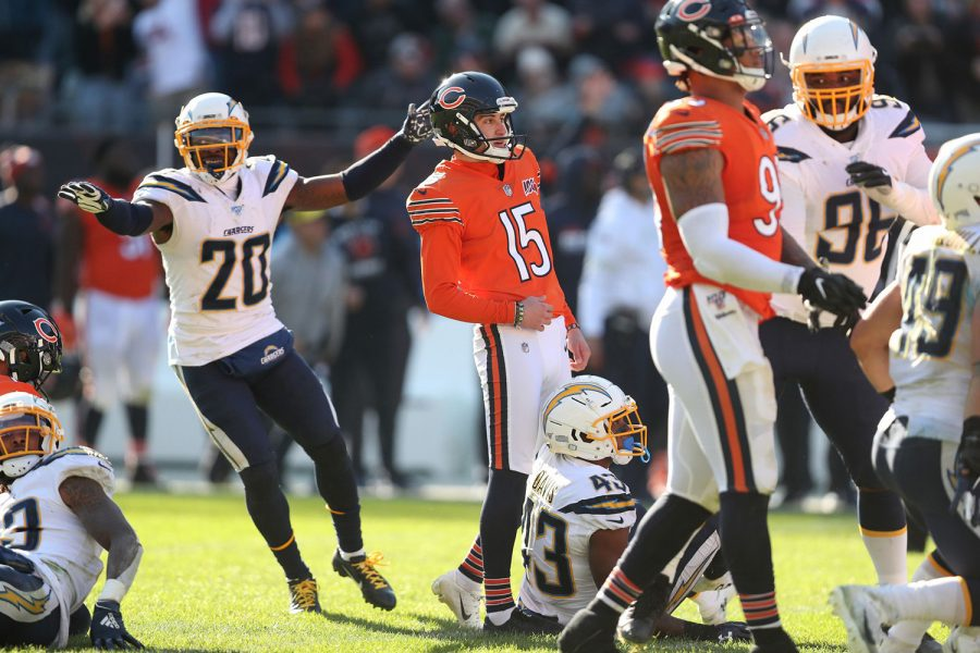 Bears kicker Eddy Pineiro and Chargers defensive back Desmond King react differently after Pineiro missed the would-be game-wining kick. The Bears lost to the Chargers 17-16 at Soldier Field.