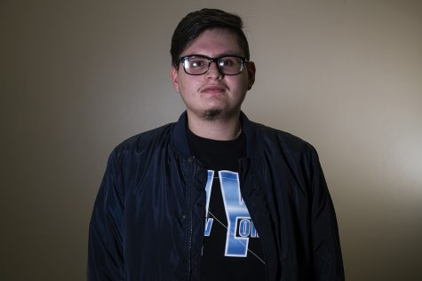 Mauricio Sandoval poses for a portrait in the Adler Journalism Building on Friday, Nov. 6, 2020.