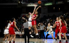 Iowa forward Monika Czinao and Ohio State forward Aailyah Patty jump for the tip-off during the Iowa vs. Ohio State Women's Big Ten Tournament game at Bankers Life Fieldhouse in Indianapolis on Friday, March 6, 2020. The Buckeyes defeated the Hawkeyes 87-66.