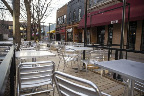 An outdoor seating area on the Ped Mall is seen on Saturday, April 4, 2020. Downtown was quiet during the first weekend after spring break as classes have been moved online and the bars closed due to coronavirus.