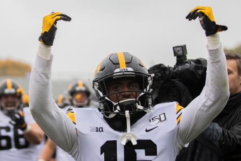 Iowa defensive back Terry Roberts celebrate the win after a game against Northwestern at Ryan Field on Saturday, October 26, 2019. The Hawkeyes defeated the Wildcats 20-0.