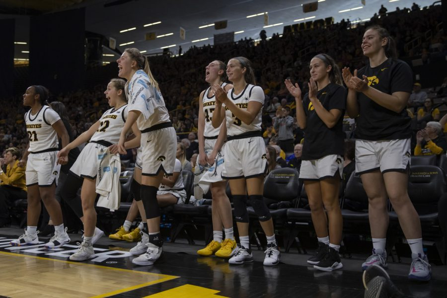 Iowa+players+celebrate+after+scoring+during+a+women%E2%80%99s+basketball+game+between+Iowa+and+Penn+State+at+Carver+Hawkeye+Arena+on+Saturday%2C+Feb.+22%2C+2020.+The+Hawkeyes+defeated+the+Nittany+Lions%2C+100-57.