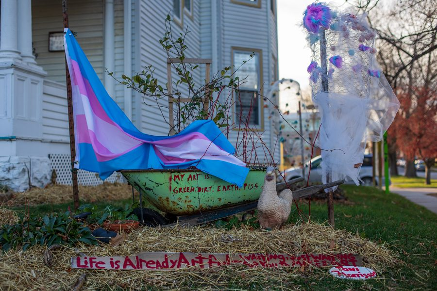 A+transgender+flag+is+displayed+on+November+18+at+Public+Space+One+in+honor+of+Trans+Day+of+Remembrance.