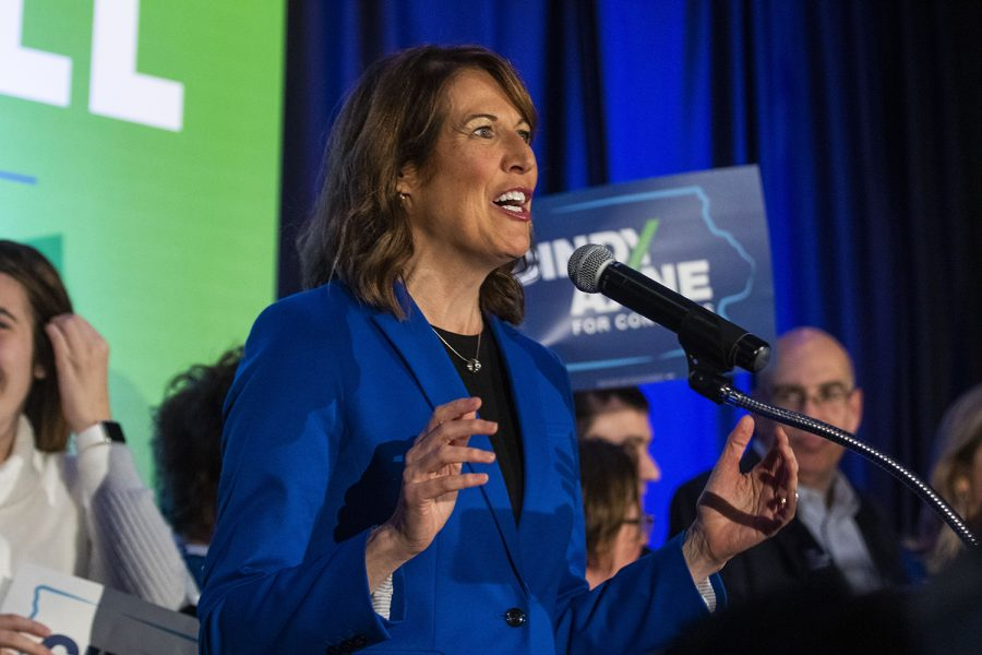 Iowa 3rd Congressional District-elect Cindy Axne speaks to supporters during the statewide Democratic candidates watch party at Embassy Suites in Des Moines on Wednesday, Nov.
