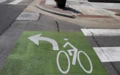 Left turn squares for bicycles are seen on Sunday, Oct. 11, 2020 in Cedar Rapids.