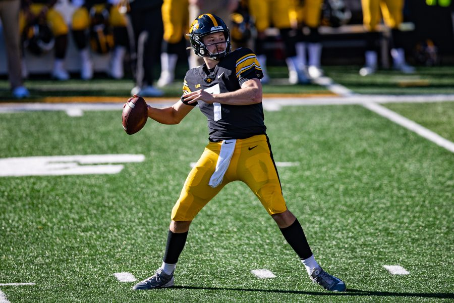 Iowa quarterback Spencer Petras attempts a pass during a football game between Iowa and Michigan State in Kinnick Stadium on Saturday, Nov. 7, 2020. The Hawkeyes dominated the Spartans, 49-7.