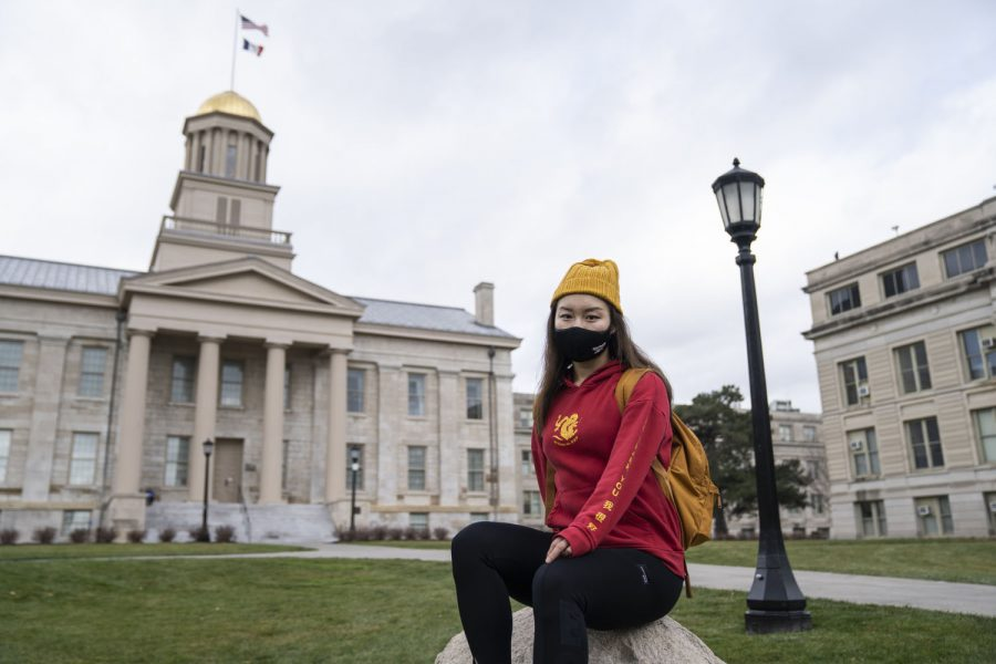 UI international student Peiqi Chen poses for a portrait at the Pentacrest on Monday, Nov. 09, 2020. Chen is originally from the Hunan province of China and had hoped for the defeat of President Trump in the 2020 elections.