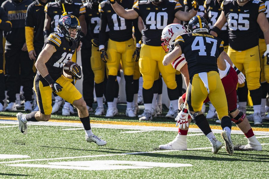Iowa+wideout+Charlie+Jones+returns+a+punt+during+a+football+game+between+Iowa+and+Nebraska+at+Kinnick+Stadium+on+Friday%2C+Nov.+27%2C+2020.+%28Shivansh+Ahuja%2FThe+Daily+Iowan%29