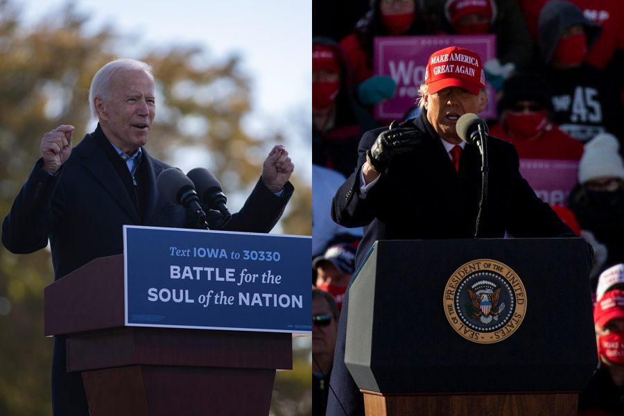 """Democratic presidential candidate Joe Biden (left) speaks during a Biden drive-in rally on Friday, Oct. 30, 2020 at the Iowa State Fairgrounds in Des Moines and President Donald Trump (right) speaks during a """"Make America Great Again"""" rally held at the Dubuque Regional Airport on Sunday, Nov. 1, 2020."""