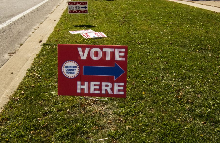 Johnson County holds drive-in voting at 913 S. Dubuque St. as seen on Tuesday, Oct. 6, 2020