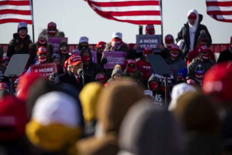"""President Donald Trump speaks during a """"Make America Great Again"""" rally held at the Dubuque Regional Airport on Sunday, November 1, 2020. With two days before Election Day, this is President Trump's second stop to Iowa in the past few weeks."""
