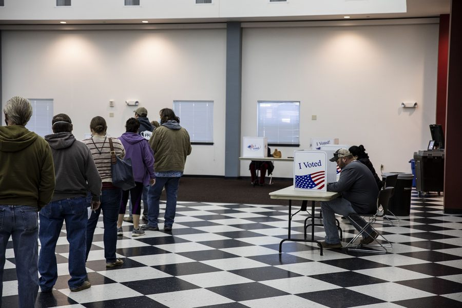 Waiting and voting. As seen on Nov. 3, 2020. at the Wilton Community Center 1215 Cypress St.