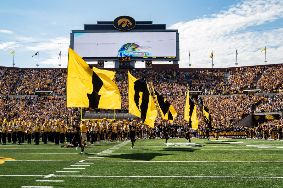 The Iowa football team is introduced during a football game between Iowa and Rutgers at Kinnick Stadium on Saturday, September 7, 2019. The Hawkeyes defeated the Scarlet Knights, 30-0.