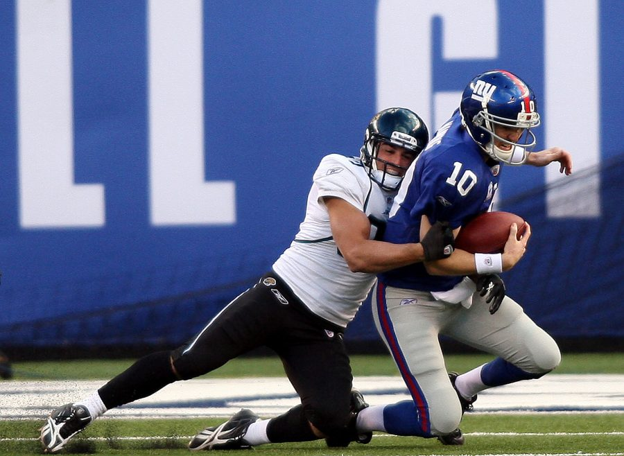 Jacksonville Jaguars' Sean Considine sacks New York Giants quarterback Eli Manning during NFL action at the New Meadowlands Stadium in East Rutherford, New Jersey, Sunday November 28, 2010. The Giants won, 24-20. (Joe Rogate/Newsday/MCT)
