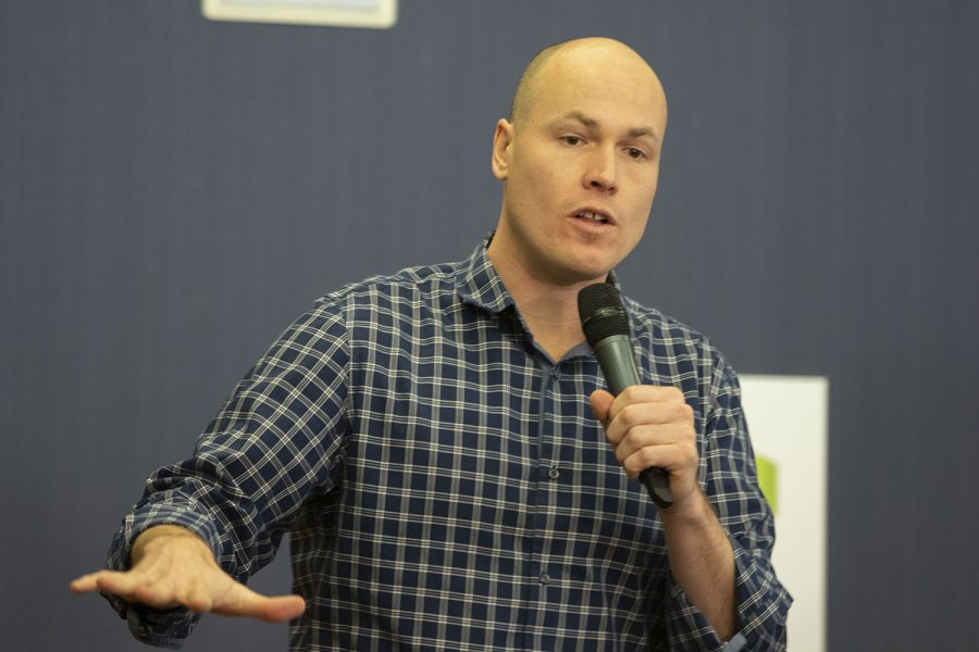 Iowa state director for Working Hero J.D. Scholten speaks during an event at the Iowa City Public Library on Monday, February 18, 2019. Rep. Swalwell is expected to announce a candidacy for President of the United States.