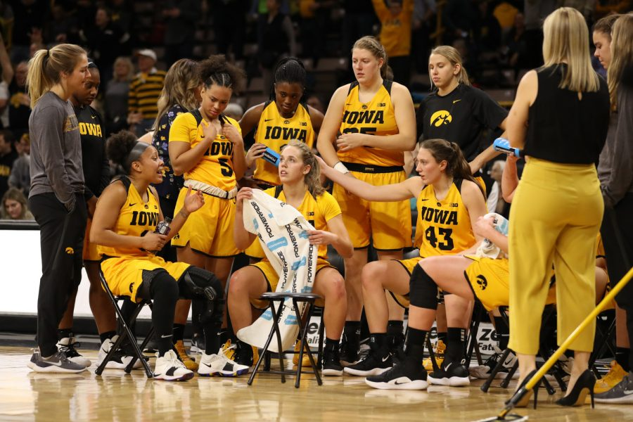 The+Iowa+Women%27s+Basketball+team+huddles+up+on+a+time+out+during+a+basketball+game+against+Michigan+State+on+Thursday%2C+Feb.+7%2C+2019.+The+Hawkeyes+defeated+the+Spartans+86-71.