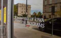 University of Iowa International Programs building decal as seen on Wednesday, Oct. 28.