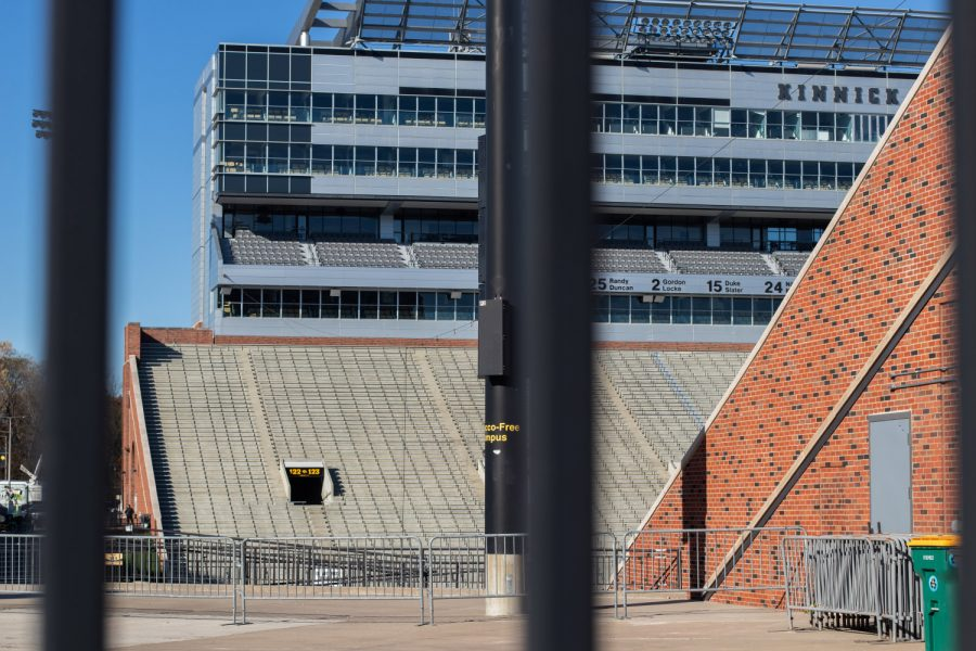 Kinnick Stadium, home to the University of Iowa Hawkeyes, is seen on a sunny Saturday, game day afternoon. Tailgating has looked a lot different recently in the light of COVID-19, as both the streets and the stands remain empty. The Hawks are playing Northwestern.