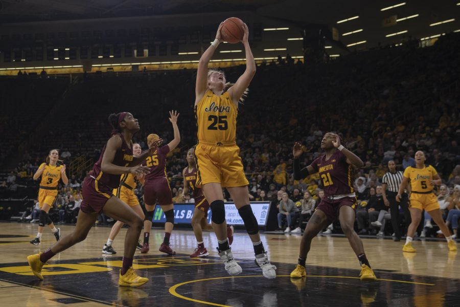 Iowa forward Monika Czinano catches a rebound during a women's basketball game between Iowa and Minnesota at Carver Hawkeye Arena on Thursday, Feb. 27, 2020. The Hawkeyes defeated the Gophers, 90-82.
