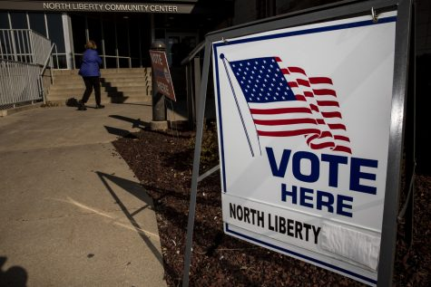 A sign marking a polling location is seen outside the North Liberty Community Center in North Liberty on Tuesday, November 3, 2020. In 2016, Johnson County was one of six Iowa counties to vote for a democratic presidential candidate, according to the New York Times.