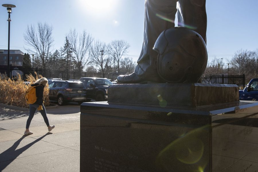 The Nile Kinnick statue is seen before an away football game on Friday, Nov. 13, 2020. After fans rushed the field last year when Iowa won the football game against then-ranked No. 7 Minnesota, the energy in Iowa City was much quieter before today's game at Minnesota.