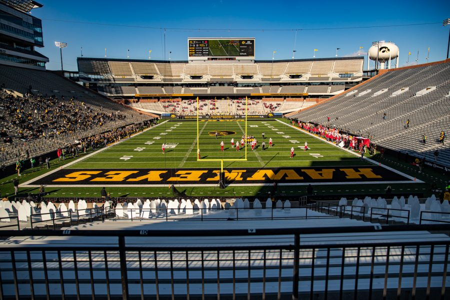 Action+is+underway+during+a+football+game+between+Iowa+and+Nebraska+at+Kinnick+Stadium+on+Friday%2C+Nov.+27%2C+2020.