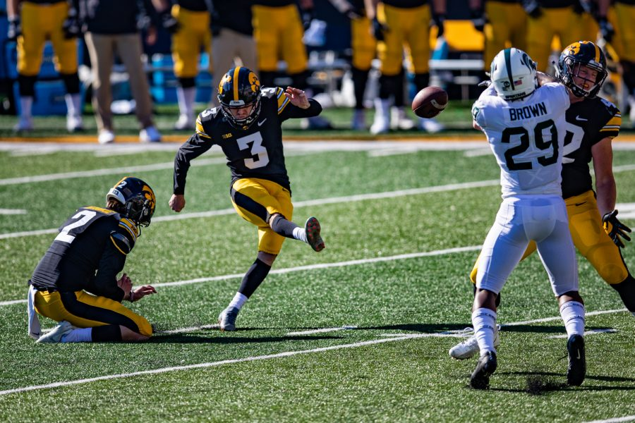 Iowa kicker Keith Duncan attempts a field goal during a football game between Iowa and Michigan State in Kinnick Stadium on Saturday, Nov. 7, 2020. The Hawkeyes dominated the Spartans, 49-7. Duncan was perfect on extra points but missed his lone field goal attempt from 37 yards.